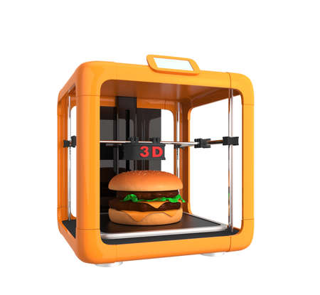 rapid prototyping: 3D printer and hamburger  Concept for printing food solution Stock Photo