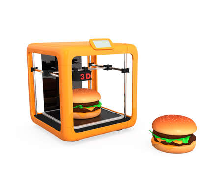 solid food: 3D printer and hamburger  Concept for printing food solution Stock Photo