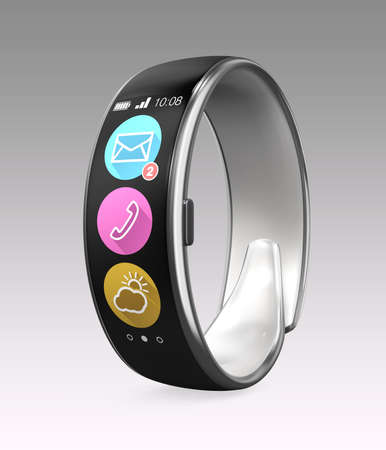 Smart wristband isolated on gray background