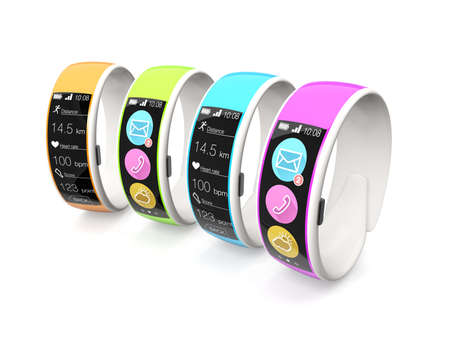 Colorful smart wristbands on white background photo