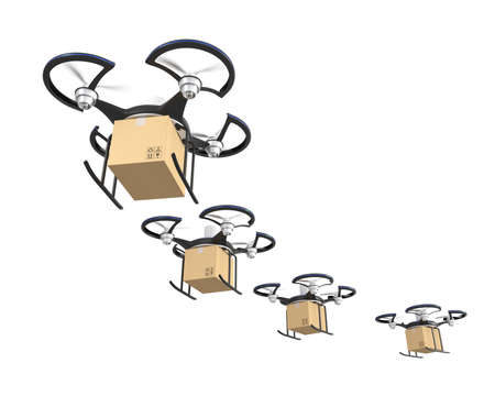 Air drone with carton package for fast delivery concept  Stock Photo