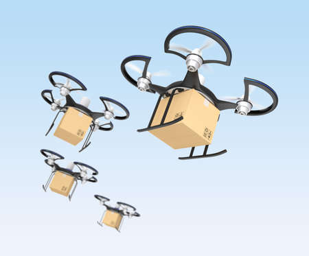 commercial recycling: Air drone with carton package for fast delivery concept  Stock Photo