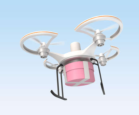 Air drone carrying gift package for fast delivery concept  photo