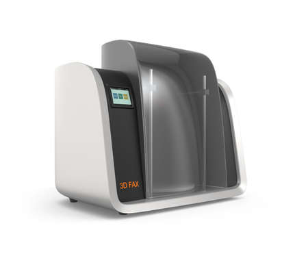 rapid prototyping: 3D fax concept  which can scan, print 3d model  send 3d data by net service  Stock Photo