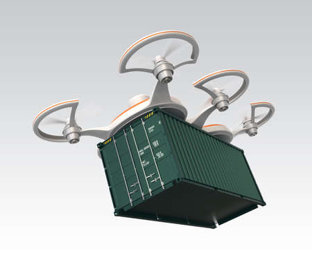 Air drone carrying a cargo container photo