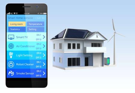 Smartphone con aplicaciones de automatización del hogar Foto de archivo - 29195023