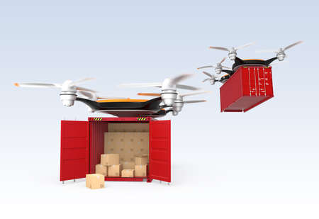 drones: Drones carrying cargo containers