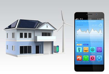 domotique: Smartphone avec l'application de domotique Banque d'images
