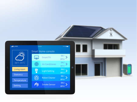 smart home: Tablet PC with home automation app