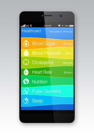 健康とフィットネスの情報アプリ スマート フォン用 写真素材