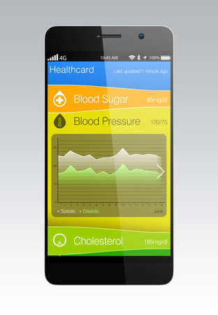 スマート フォン用血圧情報アプリ 写真素材