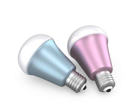 e27: Energy efficient LED light bulbs isolated on white background