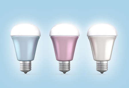 Energy efficient LED light bulbs arranged in line photo