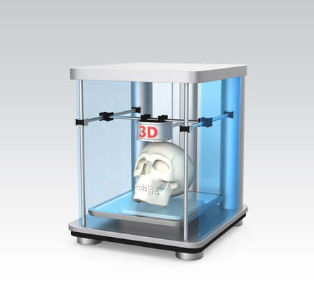 rapid prototyping: 3D printer and human skull for dental tissue engineering concept  Stock Photo