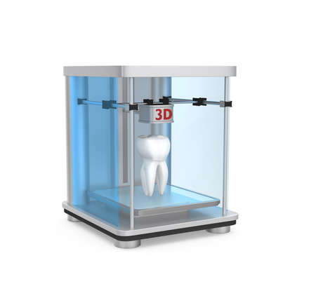 3D printer and human tooth for dental tissue engineering concept  photo