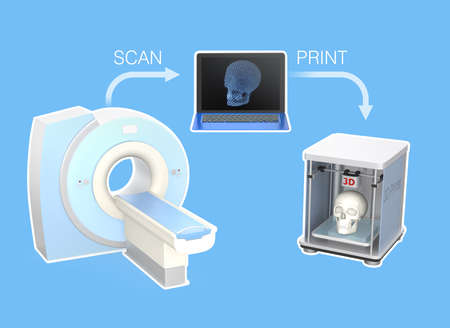 CT scanner and 3D printer for tissue engineering concept photo