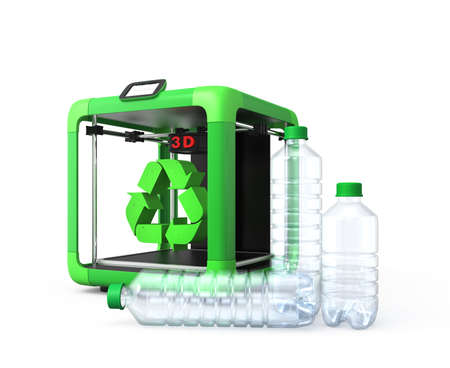 rapid prototyping: 3D printer and recycle mark, PET bottles isolated on white background Stock Photo