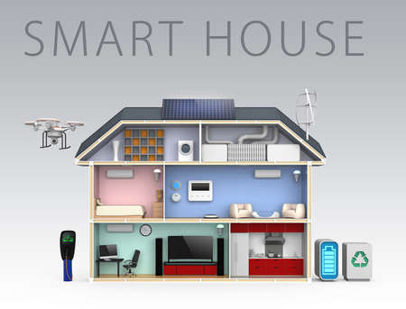 energy efficient: Smart house with energy efficient appliances With text