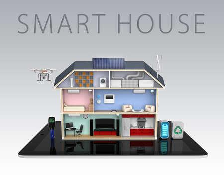 domotique: Maison intelligente avec les appareils �conomes en �nergie avec le texte Banque d'images