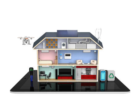 Smart house with energy efficient appliances no text  photo