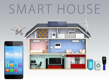 monitoreo: Aplicación Smartphone y energía eficiente casa para el concepto de casa inteligente Foto de archivo