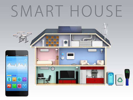 Smartphone app and energy efficient house for smart house concept photo