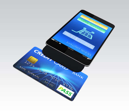 Credit card reader on smart phone for mobile payment concept Stock Photo
