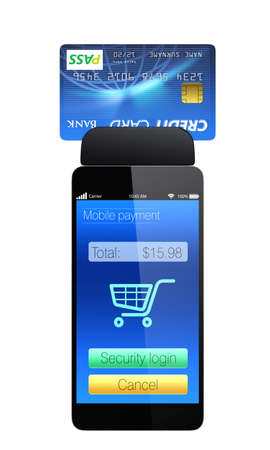 Credit card reader on smart phone for mobile payment concept photo