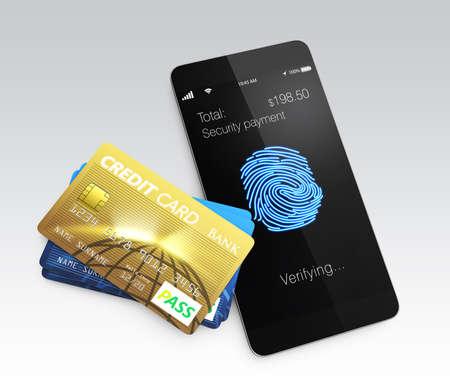 biometrics: Credit card and smartphone with fingerprint scan app