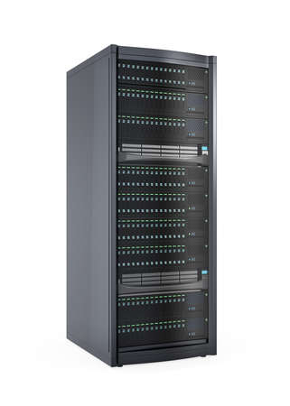 data center: Single blade server system isolated on white background