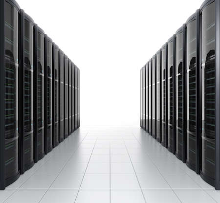 server farm: Rows of blade server system on white background Stock Photo