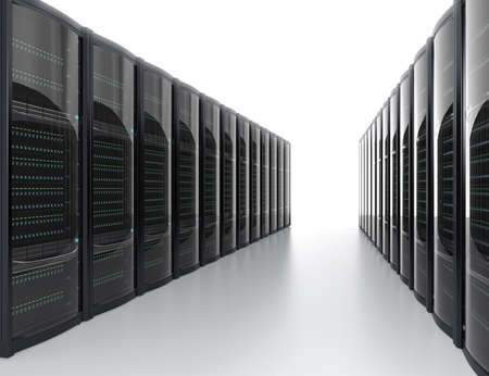 Rows of blade server system on white background photo