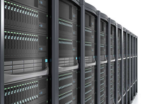 Row of blade server system on white background photo
