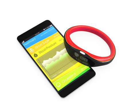 wristband: Blood pressure information synchronize from smart wristband Stock Photo