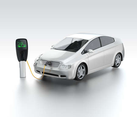 electric car: Electric car at charging station  Zero emission concept