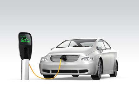 cables electricos: Coche eléctrico en la estación de carga concepto de emisión cero Foto de archivo