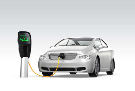 Electric car at charging station  Zero emission concept