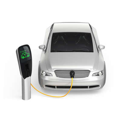 electric station: Electric car at charging station  Zero emission concept