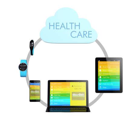 雲のヘルスケアのためのコンピューティングの技術コンセプト 写真素材