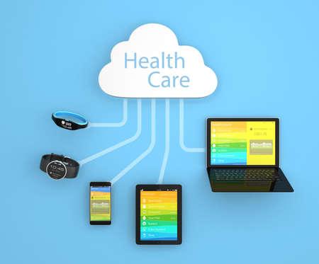plataforma: Nube concepto de la tecnología de la computación para el cuidado de la salud