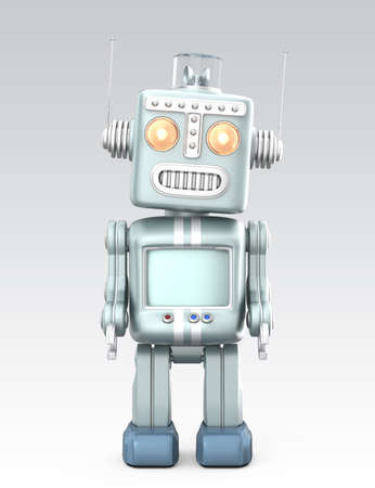 Vintage robot standing in curious  Isolated on gray background photo