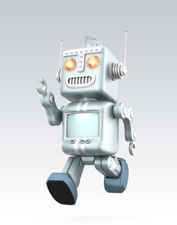 Cute vintage robot running  Isolated on gray background