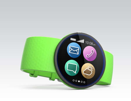 wristlet: Smart watch with green wristlet isolated on gray background