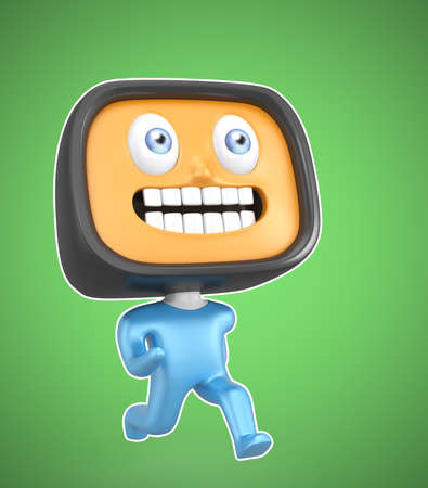 Cute TV-man running on green background photo