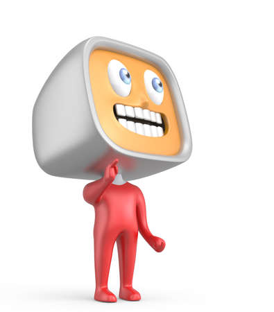 Cute TV-man standing on white background photo