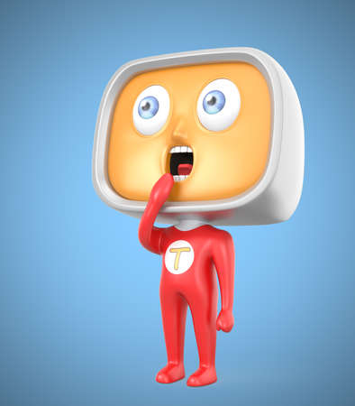 Curious TV-man standing on blue background photo