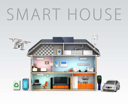 photovoltaic: Energy efficient Home concept with text