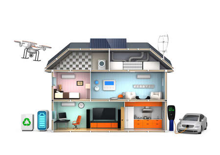 smart grid: Energy efficient Home concept isolated on white background Stock Photo