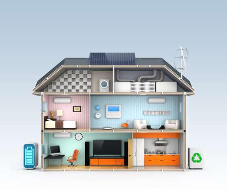 effizient: Energieeffiziente Startseite Konzept mit Kopie Raum Lizenzfreie Bilder