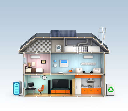 energy grid: Energy efficient Home concept with copy space